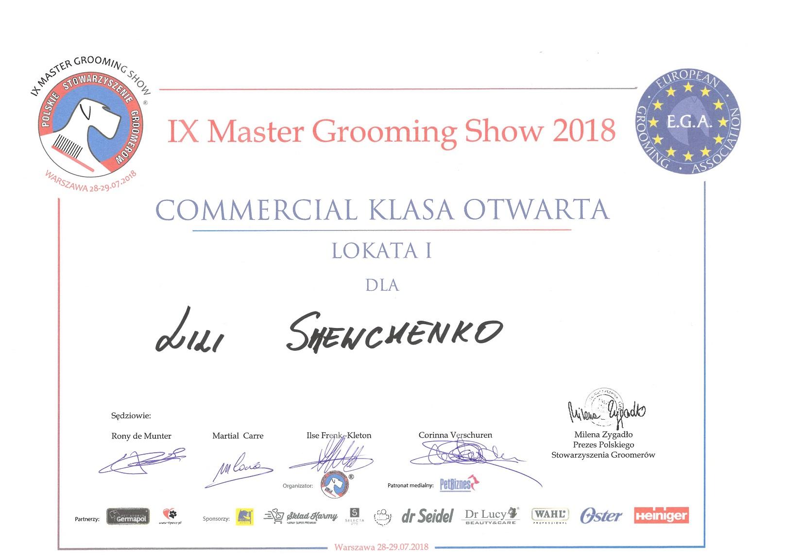 Pierwsze miejsce w Kategorii Commercial na Międzynarodowym Konkursie Master Grooming Show Warszawa 2018
