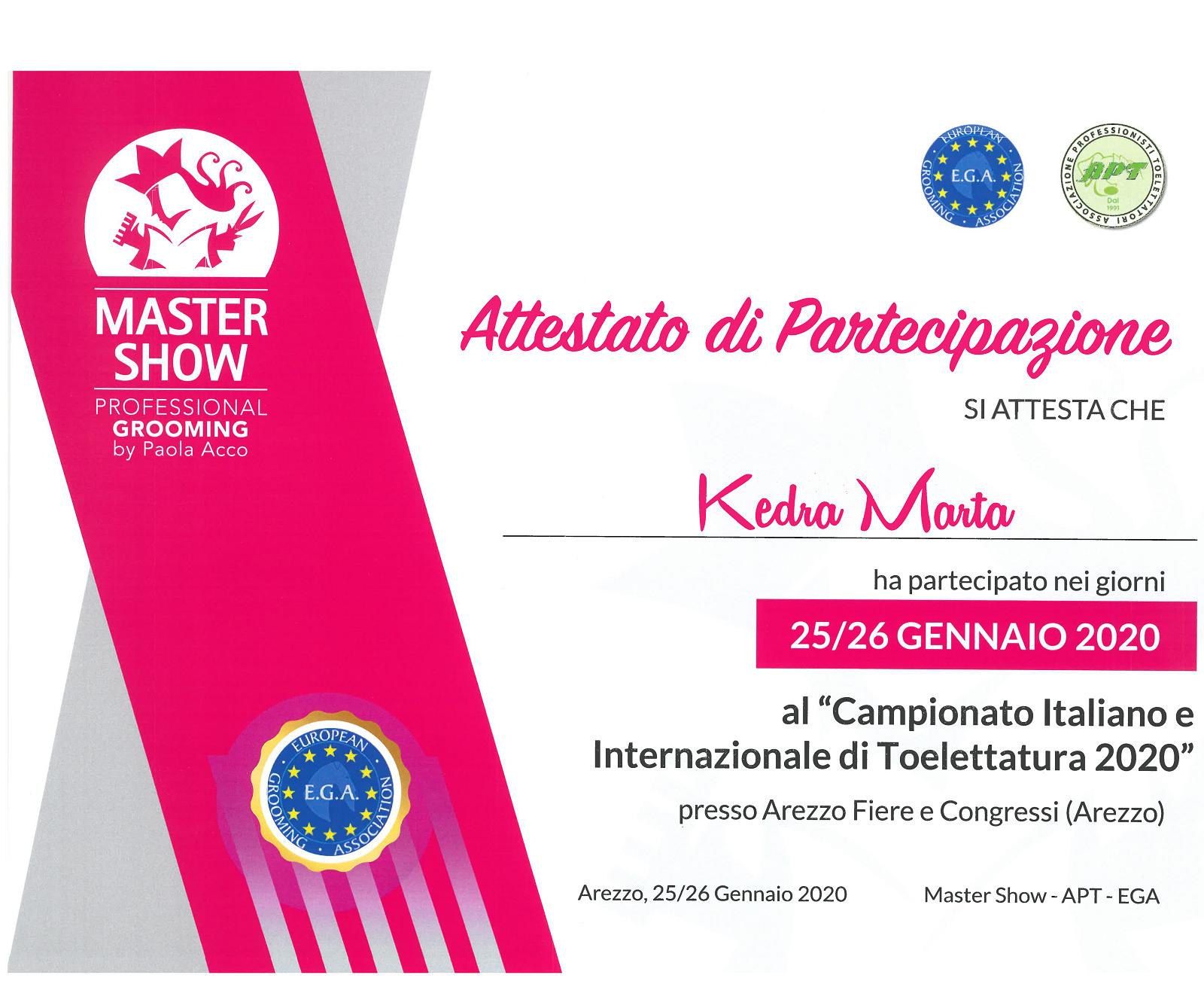 Uczestnictwo w Międzynarodowym Konkursie Master Show 2020 w Arezzo we Włoszech. Start w Klasie Open w Kategorii Pudel Standard oraz z Pudlem Toy w Kategorii Intermediate