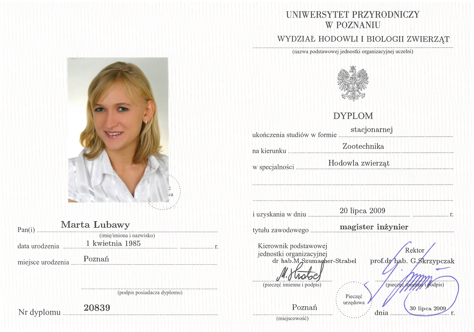 Dyplom ukończenia studiów na kierunku Zootechnika