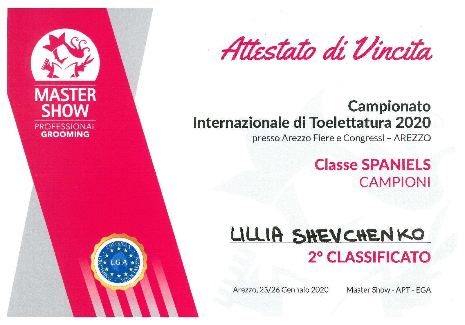Największy dotychczasowy sukces Lilii - 2 Miejsce na podium w Klasie Championów na Konkursie Master Show 2020 we Włoszech