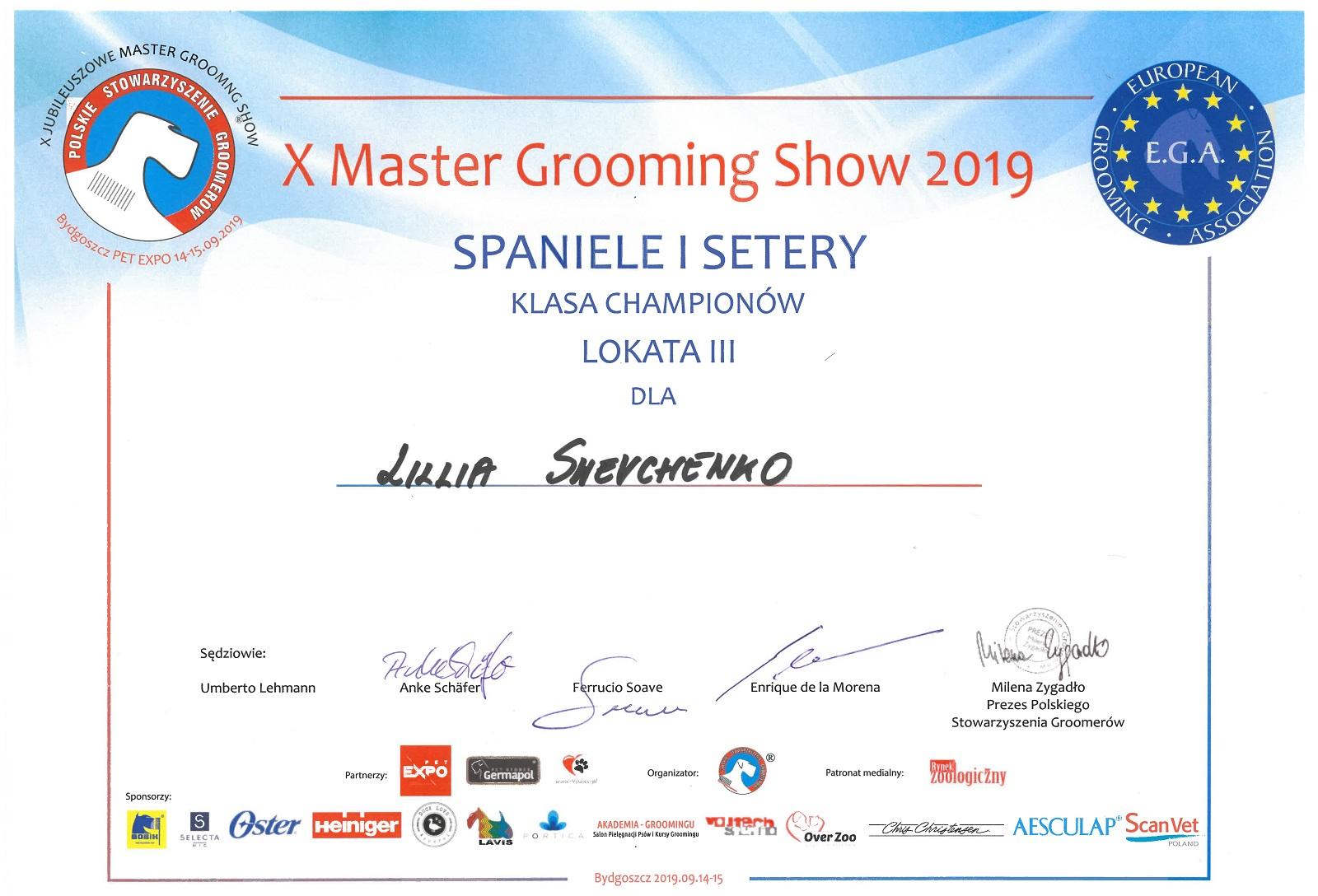Drugi największy sukces Lilii - 3 Miejsce w Klasie Championów na Konkursie Masters Grooming Show 2019 w Polsce